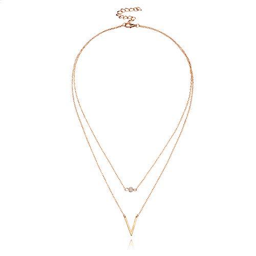 Long collier bohème multicouche en forme de V pour femme - Cadeau chic et tendance - Doré