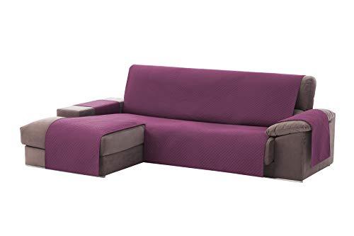 Textilhome - Funda Cubre Sofá Chaise Longue Adele, Protector para Sofás Acolchado Brazo Izquierdo. Tamaño -240cm. Color Malva (Visto DE Frente)