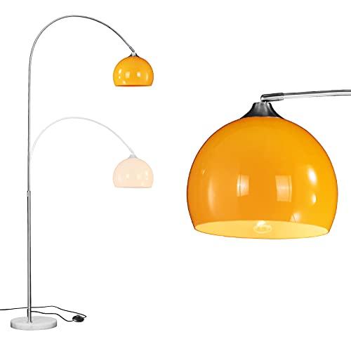 WUDSEE Moderna lámpara de pie arqueada alta curvada luz de lectura para sala de estar dormitorio con base de mármol y acabado naranja pulido, altura ajustable de 125 cm a 180 cm