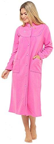Bata de tejido polar con manga larga, botones y bolsillos en la parte delantera para mujer Rosa Rosa Oscuro 46-48