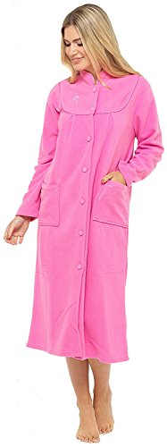 Bata de tejido polar con manga larga, botones y bolsillos en la parte delantera para mujer Rosa Rosa Oscuro 56