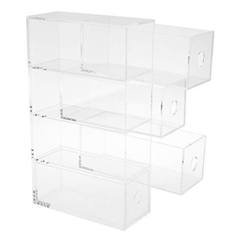 P Prettyia Acryl Box Brillenbox Schmuckaufbewahrung Schmuckkasten Organizer Schubladen - 4 Schichten