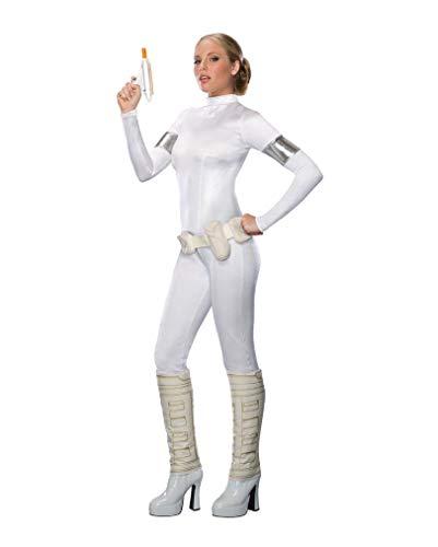 Star Wars Padme Amidala sexy Damen Kostüm Enger Langarm Overall, weiß - S