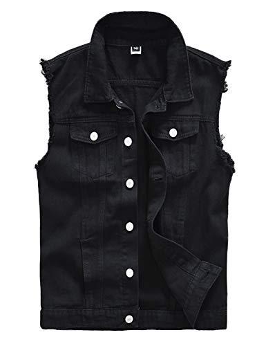 DSDZ Men's Sleeveless Ripped Denim Vest Casual Slim Fit Button Down Jeans Vests Jacket (Black, Large)
