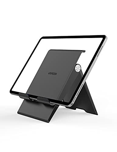 UGREEN Soporte Tablet Mesa, Soporte Movil Mesa Plegable Atril Movil Mesa Altura Ajustable Soporte Mesa Tablet Plegable para iPad Pro 12,9 Air, Samsung Tab S6 A, Huawei MediaPad, iPhone 12 11(Negro)