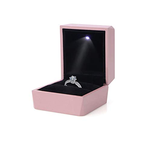 LamQee Engagement Ring Box with LED Light Velvet Earrings Studs Ring Case Jewelry Display Storage Box for Proposal Engagement Birthday Wedding Anniversary Valentine's Day Rose Gold