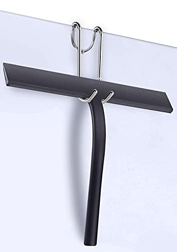 Herda - Escobilla de ducha de goma de silicona para puertas de ducha, limpiacristales de 11 pulgadas con ganchos, limpiacristales y limpieza de coche, limpiador de agua para pared...
