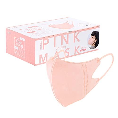 プラスライフ 不織布マスク カラーマスク スポーツマスク型 個包装 30枚 ピンク 小さめ 通気性 耳が痛くなりにくい 使い捨て