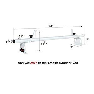 AA-Racks Model AX302 Transit 2015-On Aluminum 3 Bar Van Roof Rack System With Ladder Stopper White
