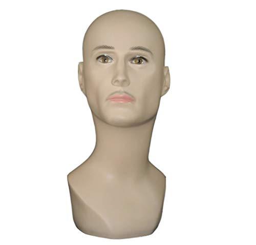 LYHD Tête de Mannequin Masculin PVC 3D Simulation Visage Mannequin Tête Perruque Lunettes Foulard Chapeau Collier Exposition