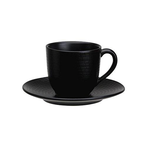 Avet Spain Juego de Tazas para Café con Plato, Gres, Negro, 6.7x6.7x6 cm, 6 Unidades