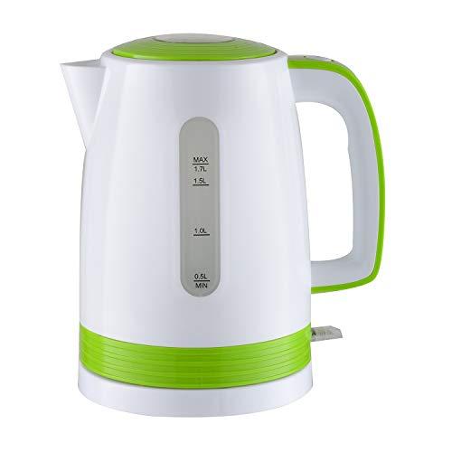 Bouilloire électrique blanche/vert 2200W - capacité 1.7L