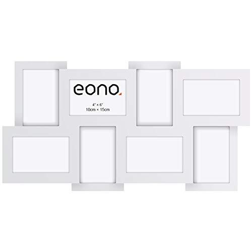 Eono by Amazon - Marco multifoto para Pared con Cristal de Alta Definición para un Collage de 8 imágenes de 10x15 cm Blanco