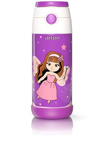 JARLSON® Trinkflasche Kinder - Thermo Edelstahl Wasserflasche 350ml - BPA frei - auslaufsicher - Kinderflasche mit Strohhalm - Flasche für Schule, Kindergarten, Fahrrad (Fee, 350 ml)