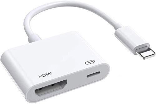 Adaptador HDMI para iPhone 12 a TV, adaptador AV digital 1080p, pantalla de sincronización HDMI para iPhone y iPad, requiere fuente de alimentación (compatible con iOS, no requiere aplicación)