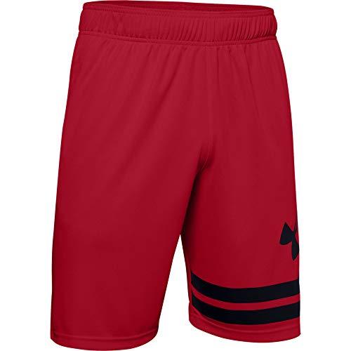 Under Armour Herren Baseline Short 25,4 cm, Herren, Shorts, Baseline 10-inch Court Shorts, Rot (600)/Schwarz, Large Hoch