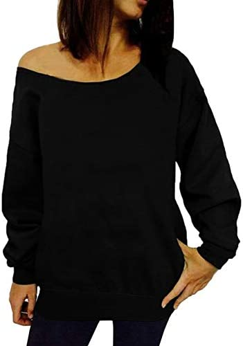 GSVIBK Women Loose Black Sweatshirts Sexy Off Shoulder Long Sleeve Printed Slouchy Shirt Pullover product image
