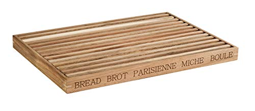 """APS Brotschneidebrett """"Letter"""" – Hochwertiges Holz-Schneidebrett mit herausnehmbarem Krümelfach auf 4 Anti-Rutsch-Füßchen – internationale Aufschrift auf zwei Seiten"""