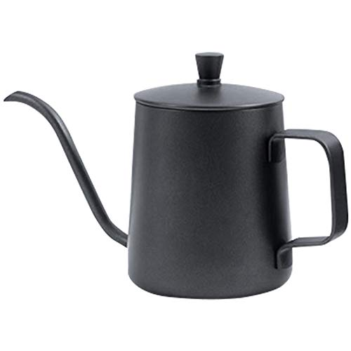 Andifany 350Ml Black Teflon-Coated Gooseneck Spout Drip Kettle for Coffee Service Steel Drip Teapot for Drip Coffee