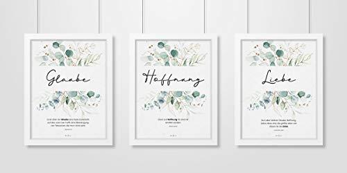 Aus Gnade Christliche Poster · Glaube Hoffnung Liebe · 3er Set · Pflanzen Grün · Bibelvers · Deko · Wandgestaltung · ohne Rahmen · A3 · christliche Geschenke · Deutsch