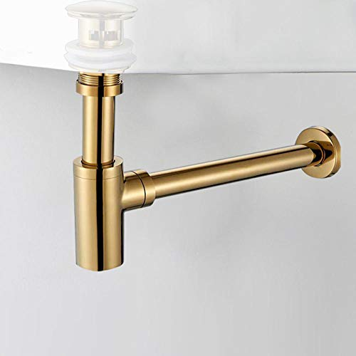 Golden badkamer wastafel kraan fles Trap Drain Kit Pop Drain deodorization messing muur sifon