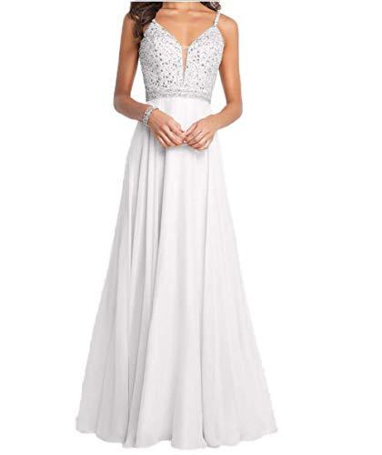 Carnivalprom Damen Spaghetti-Träger Chiffon Abendkleider Lang Hochzeit Hochzeitskleider Perlen Ballkleider(Weiß,44)