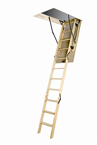 FAKRO LWN 22 1/2inx47in Wooden Basic Non-Insulated Attic Ladder 250lbs 8ft 11in