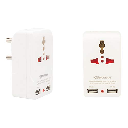 Spartan Travel Adapter with Built in Dual USB Charger Port (White)