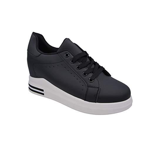 CucuFashion - Entrenadores de plataforma para mujer - Zapatillas de cuña de moda para mujer, ligeros y gruesos tacones altos para mujer, tallas 3-8, color Negro, talla 39 EU