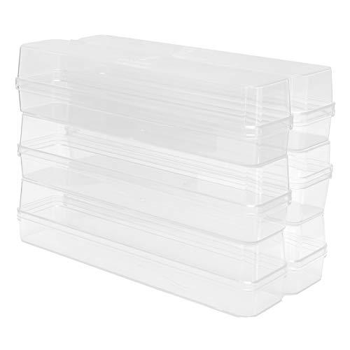 6 Set Liten Klar Akryl Förvaringslåda Transparent Plast Rektangel Lådor med Lock Candy Box Cookies Presentförpackningslåda för Bakverk Sushi Candies Supplies