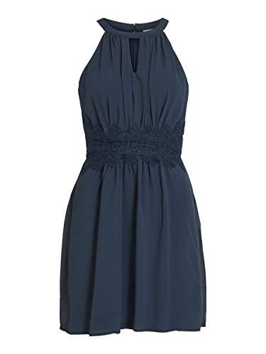 Vila Damen Vimilina Halterneck Dress/Su - Noos Kleid, Total Eclipse, 42 EU