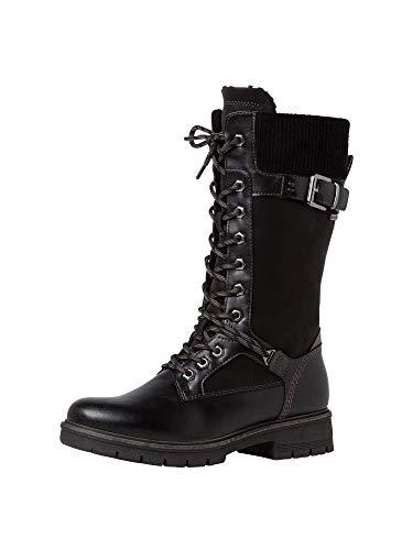 Tamaris Damen Stiefel, Frauen Winterstiefel, Woman Freizeit leger Winter-Boots Schnee-Stiefel gefüttert warm reißverschluss,Black,40 EU / 6.5 UK
