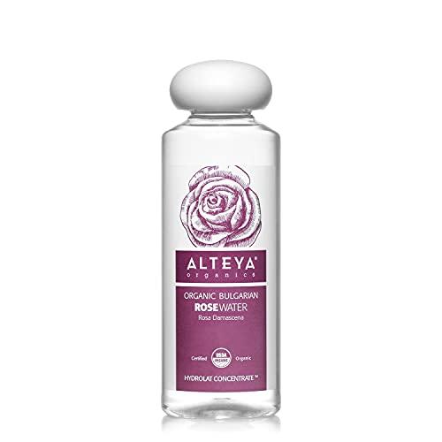 Alteya Organics Rose Water USDA Certified Organic Facial Toner, 8.5 Fl Oz/250mL Pure Bulgarian Rosa Damascena Flower Water, Award-Winning Moisturizer BPA-Free Bottle with Reducer