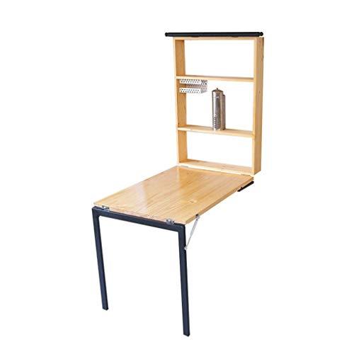 ZHFZD Draagbare klaptafel, eettafel met boekenrek, kast, slaapkamer, leren klaptafeltje