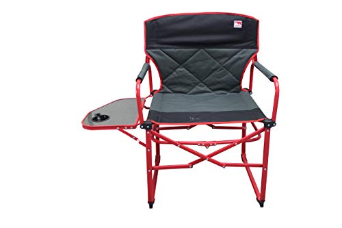 Outdoor Spectator Heavy Duty Double Quilted Padded Compact Folding Camping Director Chair with Side Table and Carry Bag