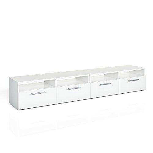 Vicco Lowboard Diego - Fernsehtisch Sideboard Fernsehschrank TV-Board Schrank (190cm, Weiß Hochglanz)
