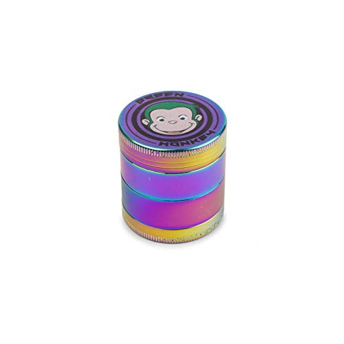 Green Monkey - 4 Piece Metal Dry Herb Grinder - Capuchin Classic Series Spice Grinder - Screen With Pollen Catcher Herb Shredder - Magnetic Top (40mm, Rainbow)