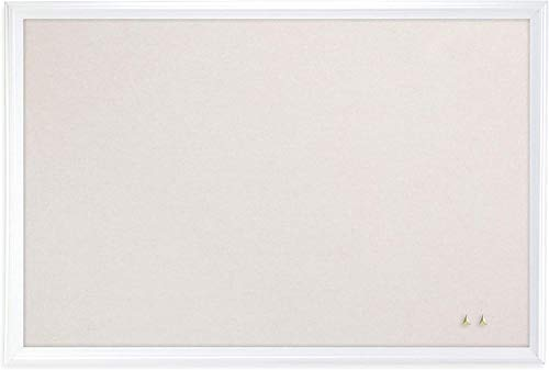 U Brands Cork Linen Bulletin Board, 20 x 30 Inches, White Wood Frame (2074U00-01), 1 Pack