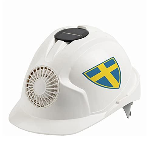 KLMM Suecia Casco de Ventilador de energía Solar Casco de Seguridad para Trabajo al Aire Libre Gorra Protectora de Arquitecto Courier (Color : White)