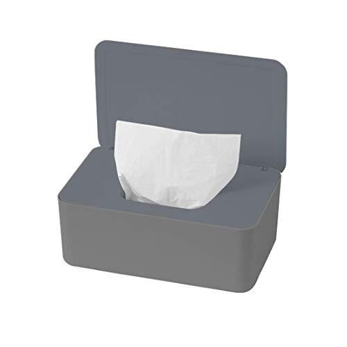 O-Kinee Feuchttüchter Box, Feuchtes Toilettenpapier Box, Feuchttücherbox Grau, Feuchttücher Box Baby, Feuchttücher Aufbewahrungsbox, Kunststoff Feuchttücher Spender mit Deckel für Zuhause und Büro