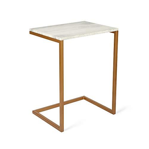 Penguin Home 3312 Coffee marmereffect-plaat & roestvrijstalen frame bijzettafel vierkant rechthoekig willekeurig standaard theetafel voor woon- en kantoorkamer gouden frame
