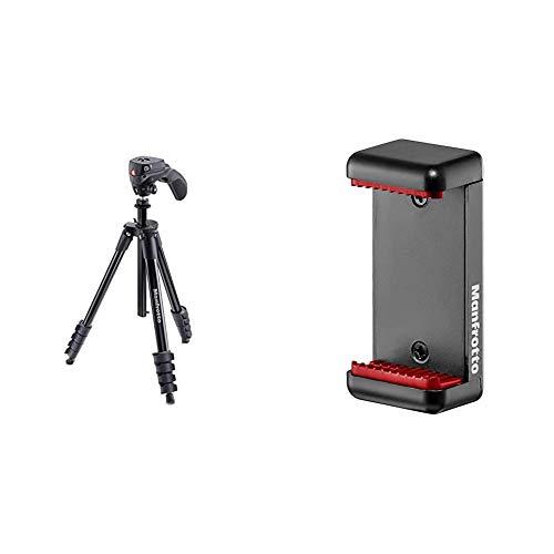 Manfrotto Compact Action - Trípode Completo, Negro + MCLAMP - Pinza Universal para Smartphone con Rosca 1/4''