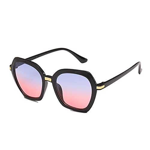 Gafas De Sol Hombre Mujeres Ciclismo Gafas De Sol para Mujer Lentes De Gradiente con Clip De Moda Gafas De Sol Unisex con Montura Poligonal Gafas-Black_Blue_Red