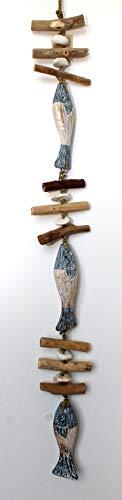 LEK Driftwood Chain Fish 100 cm Handmade Fundwood Pebble