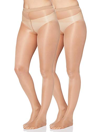 Iris & Lilly by Wolford Damen Strümpfe, 2er-Pack, Beige (Fairly Light), M, Label: M