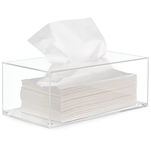 HBlife Facial Tissue Dispenser Box Cover Holder Clear Acrylic Rectangle Napkin Organizer for...