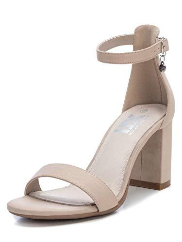 XTI 35198, Scarpe col Tacco con Cinturino Dietro la Caviglia Donna, Beige (Beige Beige), 38 EU