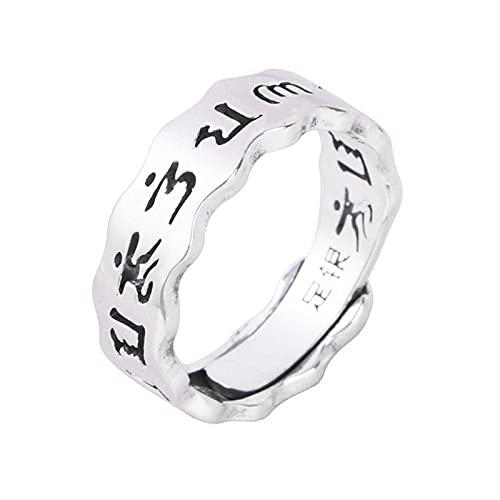 Anillos de Mantra de seis palabras huecos de plata 999 para hombres, mujeres y niñas, anillo ajustable irregular Vintage, budismo
