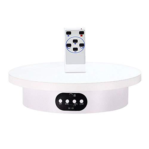JRPT 360° Base Giratoria Eléctrica para Fotografía,USB Plataforma Rotatoria para Control Remoto Automático de ángulo,Velocidad,Dirección/Blanco / 16cm Load 2kg