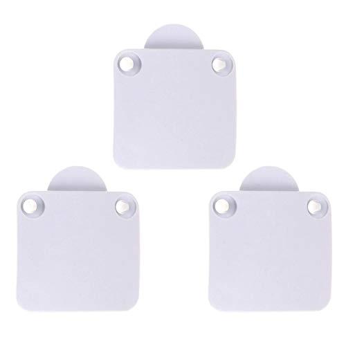 3 interruptores para puerta de armario de 12 – 24 V, color blanco – Pulsador/interruptor para, por ejemplo, puertas de armario de cocina, puertas, etc.